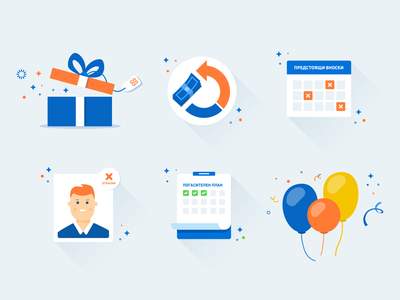 Credissimo Icons profile discount finance baloon calendar web credissimo newsletter icons
