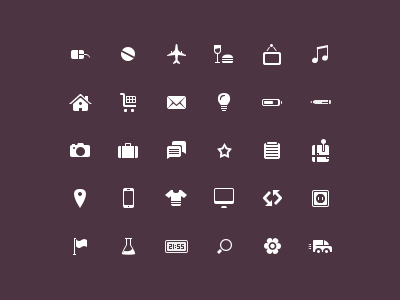 Plain Icon Set suitcase comments truck symbols camera screw house lightbulb mail star picture pen vector icons plane home mouse food cart note loading notepad icons simple freebie iconset