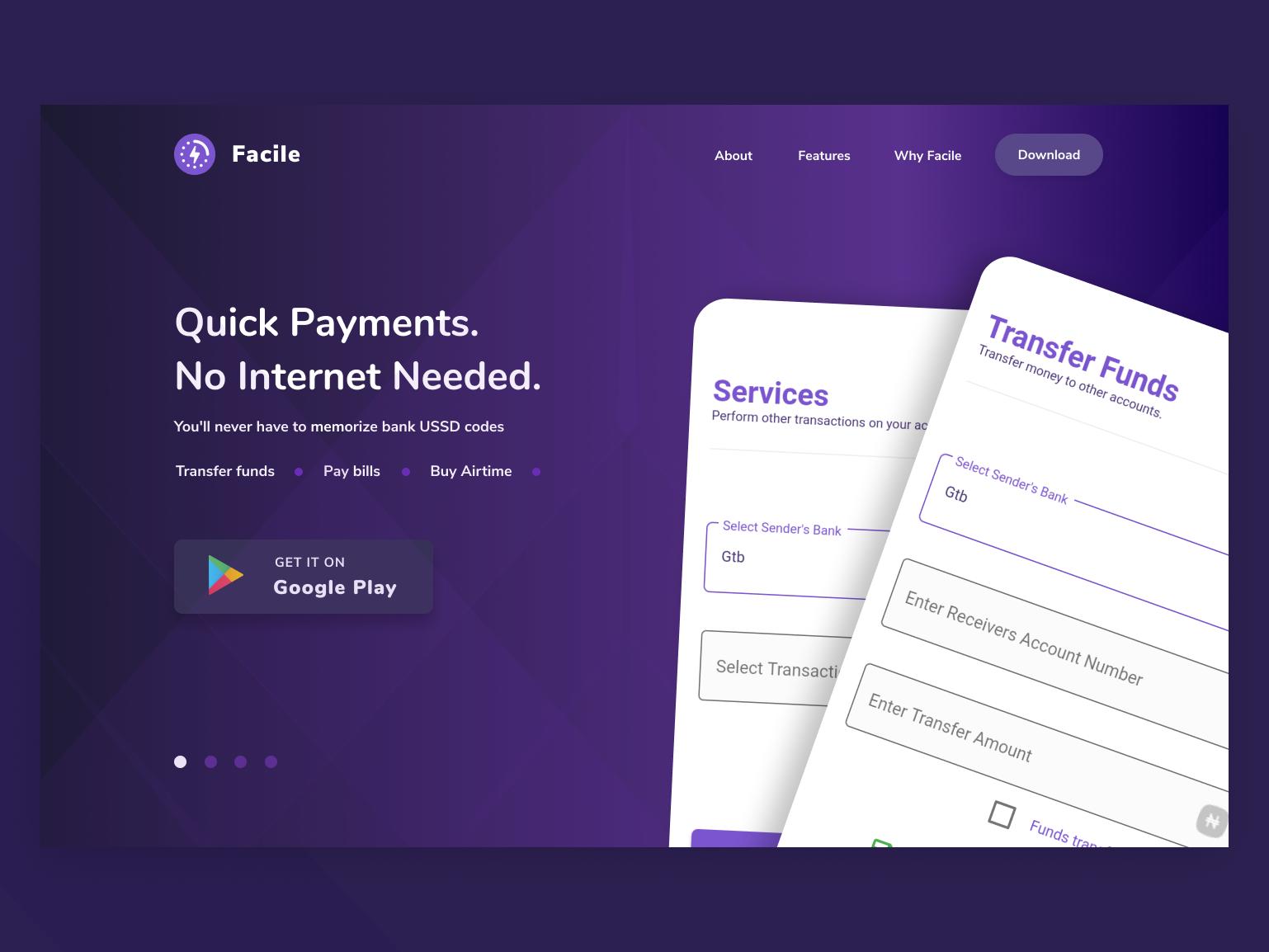 Facile - Bank Transfer App web illustration website minimal ui design