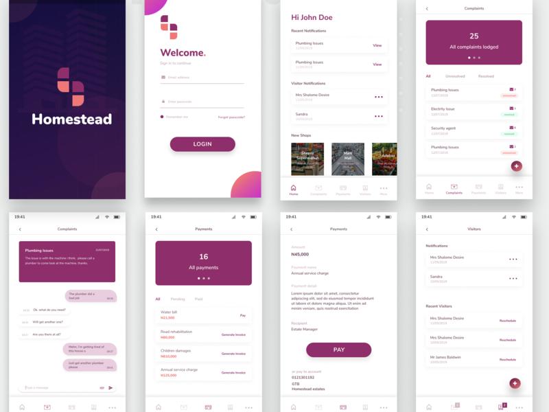 Homestead- Estate Tenants App ux research visual design mobile app mobile ui app design app typography ux minimal ui design