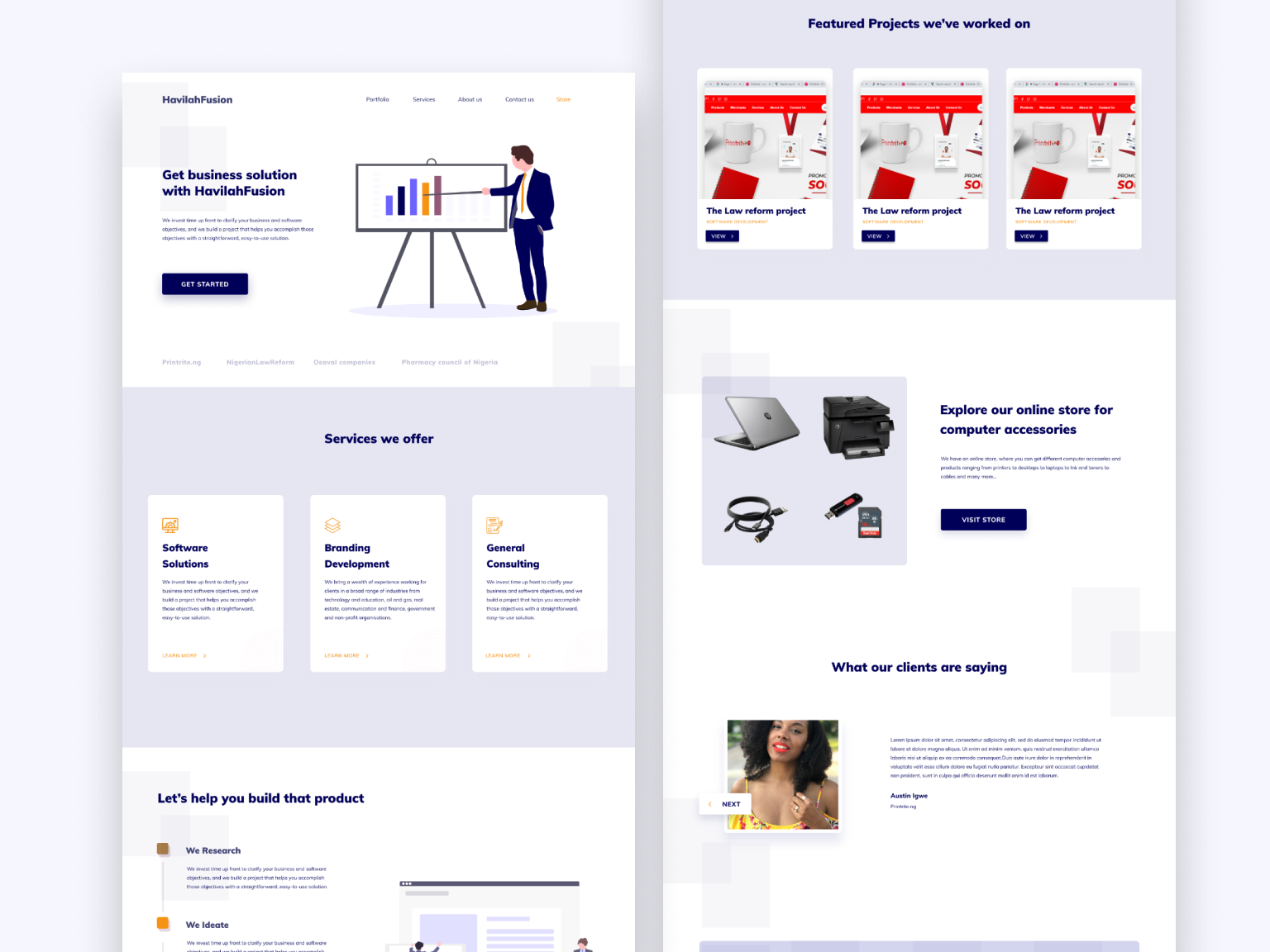 Landing Page concept for havilahfusion tech branding illustration website typography web ui design