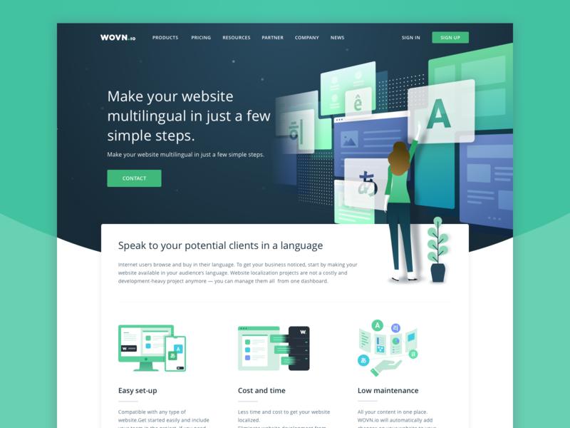 WOVN.io Website homepage space translation flat minimal lp website ux branding illustration web design ui