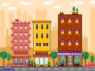 City Life vector store store front vector landscape vector tree vector car ipad illustration ipad art affinity ipad affinity designer big city vector buildings vector art vector illustration city vector city life city landscape
