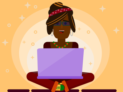 Happy working woman affinity designer vector laptop working woman illustration vector character vector art vector illustration affinity illustration affinity art