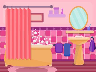 Cute Bathroom Illustration illustrator affinity art affinity designer vector artwork vector illustration vector art bathroom design