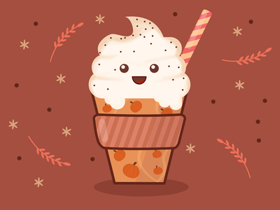 Cute Pumpkin Spice Late Cup daily vector affinity designer illustration vector drink vector art