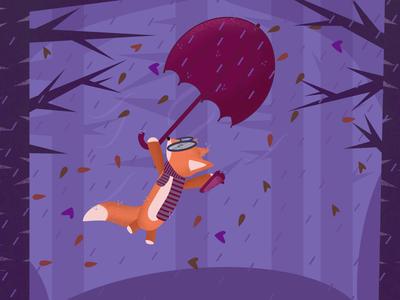Flying Fox illustration vector art autumn art autumn illustration fox illustration