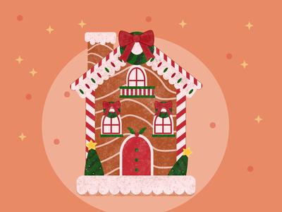 Gingerbread House house design flat art vector illustration christmas illustration gingerbread house