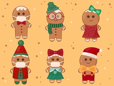 Gingerbread Christmas Cookies christmas illustration flat design flat art illustration vector art food illustration