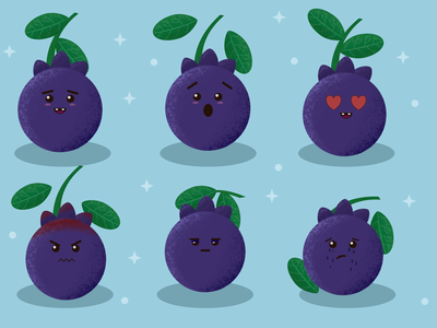 Blurry the Blueberry affinity designer affinity art kawaii illustration vector illustration illustration fruit illustration