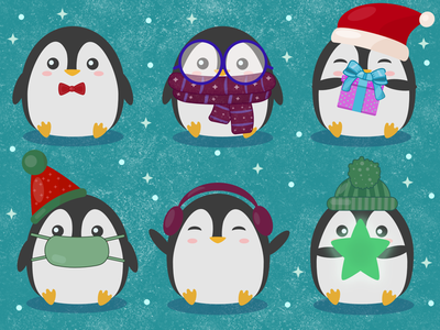 Cute Fat Penguins affinity vector illustration vector artwork penguins