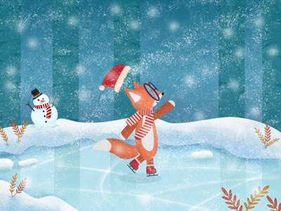 Ice Skating Time winter illustration vector drawing cute fox snowy day character design snow forest ice skating