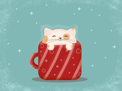 Fat Cat Latte illustration cute cat fat cat vector illustration