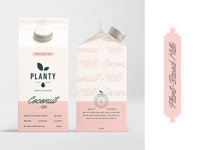 Branding for Planty Plant-Based protein planty plant based plant coconut dairy free dairy milk packaging design packaging modern typogaphy emblem logotype logo minimal brand identity branding