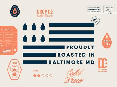 Branding for Drop Co. Coffee Roasters illustration label monogram pattern cold brew drop coffee shop roasters cafe coffee flag emblem logo brand identity branding