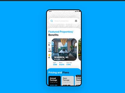 Home Screen for Property Rental App (iOS) ux ui app design