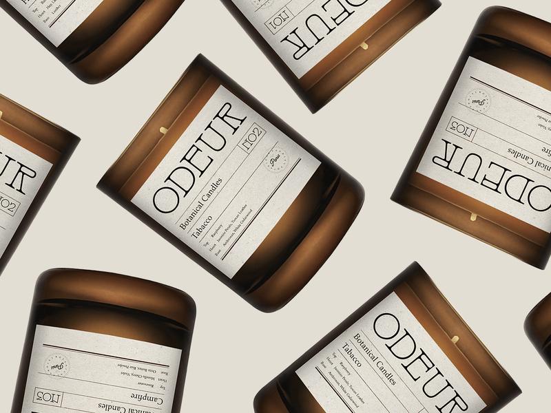 Branding for Odeur Botanical Candles logo logotype botanical scent candle label packaging branding odeur