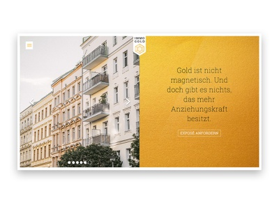 Immo Gold Homepage product gold company landingpage responsive website web design ui design immobilien homepage realestate