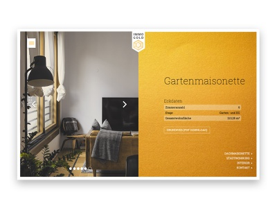 Immo Gold detail page detailpage company homepage immobilien realestate website web design ui landingpage responsive design