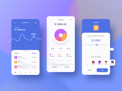Cryptocurrency Mobile Apps slider clean application application ui graph design bitcoin chart design chart graph ui colorful mobile app design mobile app mobile ui crypto currency crypto cryptocurrency crypto wallet fintech finance app