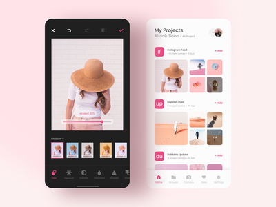 Photo Editing Apps mobile design ux design ui design white photo ui photo gallery gallery application ui editor photo editor project pink filter photo mobile ui mobile app mobile app design application clean