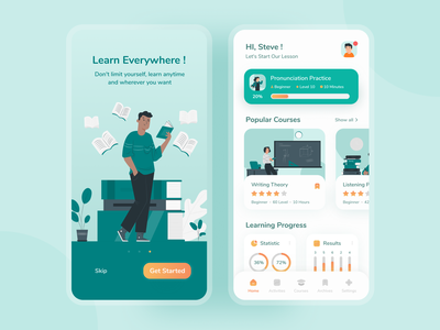 Language Learning Apps - Onboarding & Dashboard Screens english application mobile app mobile ui course app course learning app learning language app language onboarding screen onboarding ui onboarding dashboard design dashboard ui dashboard green uidesign uxdesign mobiledesign