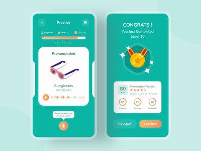 Language Learning Apps - Quizz & Scoring Screens mobile design uxdesign uidesign green sound level scoring score practice quizz language app language learning learning app course course app mobile ui mobile app application english
