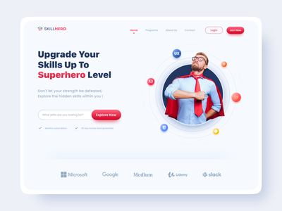 Online Course Web - Hero Section white courses web ux design web ui design education education website online courses ux design ui design clean ui skills hero website design website web ui hero section web design light ui online course course