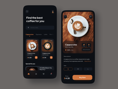 Coffee Shop Mobile Apps - Dark Mode dark food app order app glassmorphism ux design ui design mobile design mobile ui mobile app mobile app design application order food order management dark mode application ui brown chocolate dark ui coffee shop coffee
