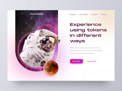 Tocktoken - Token Company Landing Page Concept home page ethereum bitcoin nfts crypto currency landing page crypto website design ux ui web design web clean token cryptocurrency nft tokens glow gradient blockchain