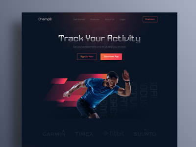 Champz - Sports tracking apps landing page website training app activity app activity tracker exercise training workout app workout health health app tracking app fitness sport tracker home page web landing page ux ui web design website design sport