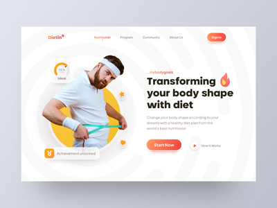 Dietin - Diet program landing page website workout carbs meals muscle health yoga weight loss weight calories nutrition website design web design ui ux landing page web home page gym fitness diet