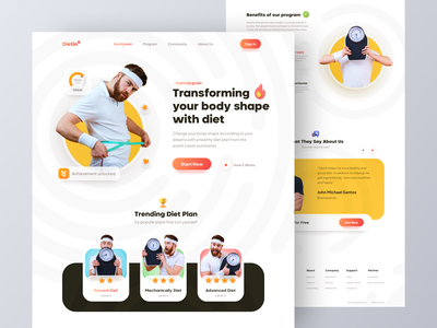 Dietin - Diet program landing page website carbs fat meals muscle health yoga weight loss weight calories nutrition website design web design ui ux landing page web home page gym fitness diet