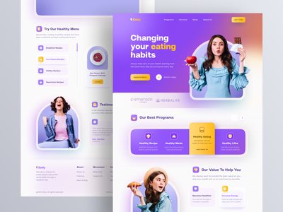Eatly - Healthy Living Program Landing Page Website ui ux landing page home page web web design website design nutrition calories health diet meal dinner recipe dish healthy food foods protein carbs