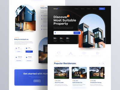 Homyz - Property Landing Page Website properties realestate architecture real estate website real estate agency building residence real estate apartement property home house home page website design web design website web landing page ui ux