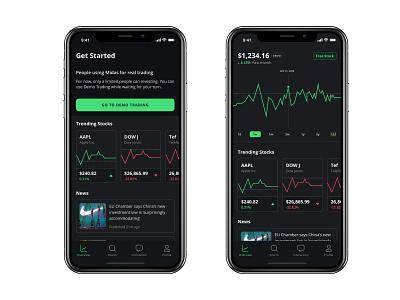 Midas - Light and Dark Mode coinbase robinhood app design ios design ios trade trading app trading platform trading