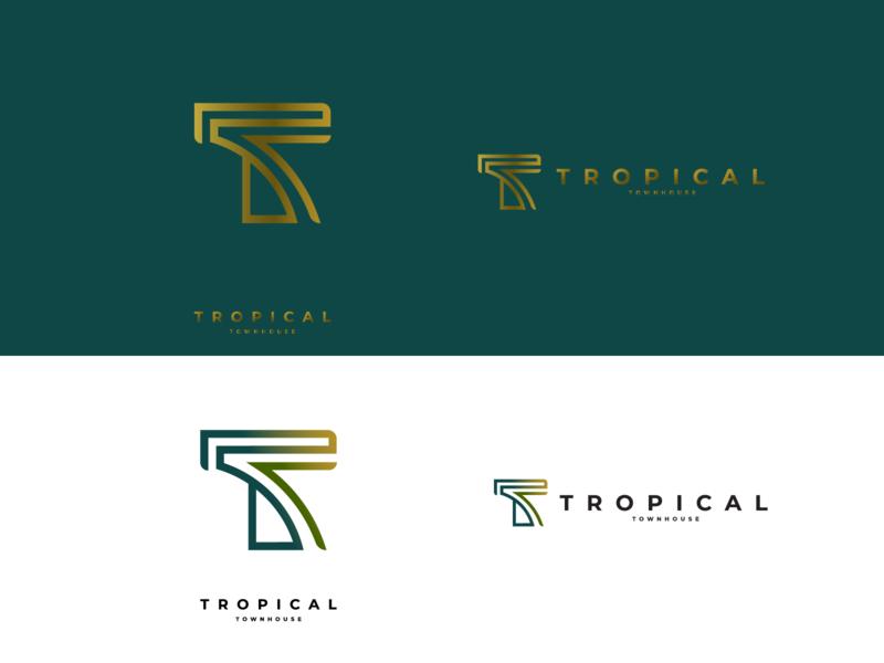 T Monogram // Tropical Townhouse visual branding visual brand visual identity brand identity branding and identity monogram logo monogram flat minimal branding logogram logo design design logo