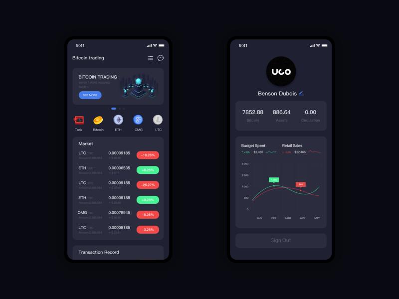 Blockchain APP first attempt dark black illustration ux ui blockchain app