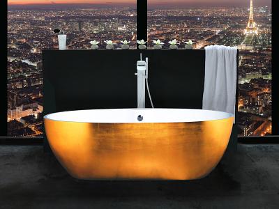 Ab.Sto.129.02.Bb.Or Stone Mid Gold  1 wellness freestanding bath aquadesign aquamass design