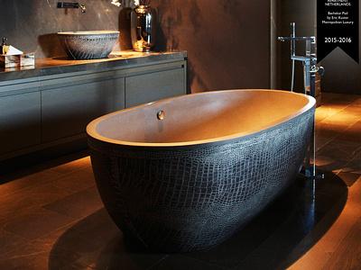 Ab.Sto.129.02.Or.Cl  Eric Kuster Award Bachelor Pad crocodile gold freestanding design bath aquamass aquadesign