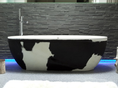 Ab.Sto.126.02.Bm.Cw Stone One Decors Just Animals Cow leather cow wellness design freestanding aquamass bath aquadesign
