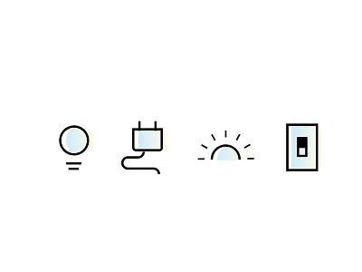 More lighting icons vector branding ui simple icons design iot lighting icons