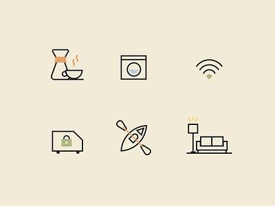Kibbo Icons vanlife sofa canoe laundry coffee icons design icons illustration simple