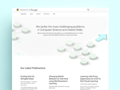 Concept for Google Research Redesign clean simple material google isometric web design