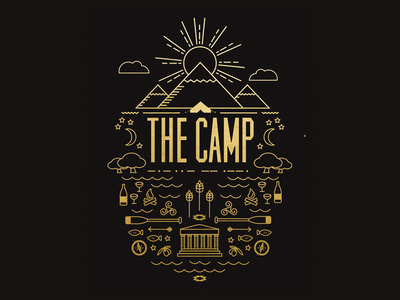 The Camp Identity google star moon mountain gold nature simple icons