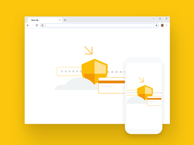 Chrome Browser Security Illustration flat design simple google browser chrome