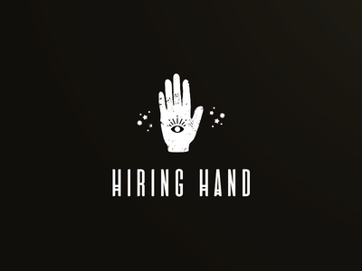 Hiring Hand logo hand tarot eye magic simple logo