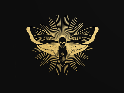 Death Moth for the Hiring Hand branding illustration occult skull butterfly moth line art black and gold witchy