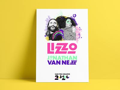 Lizzo and Jonathan Van Ness 2020 Poster prints branding campaign lizzo print typogaphy poster