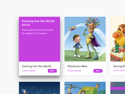 Coming into the World web shop material design cards